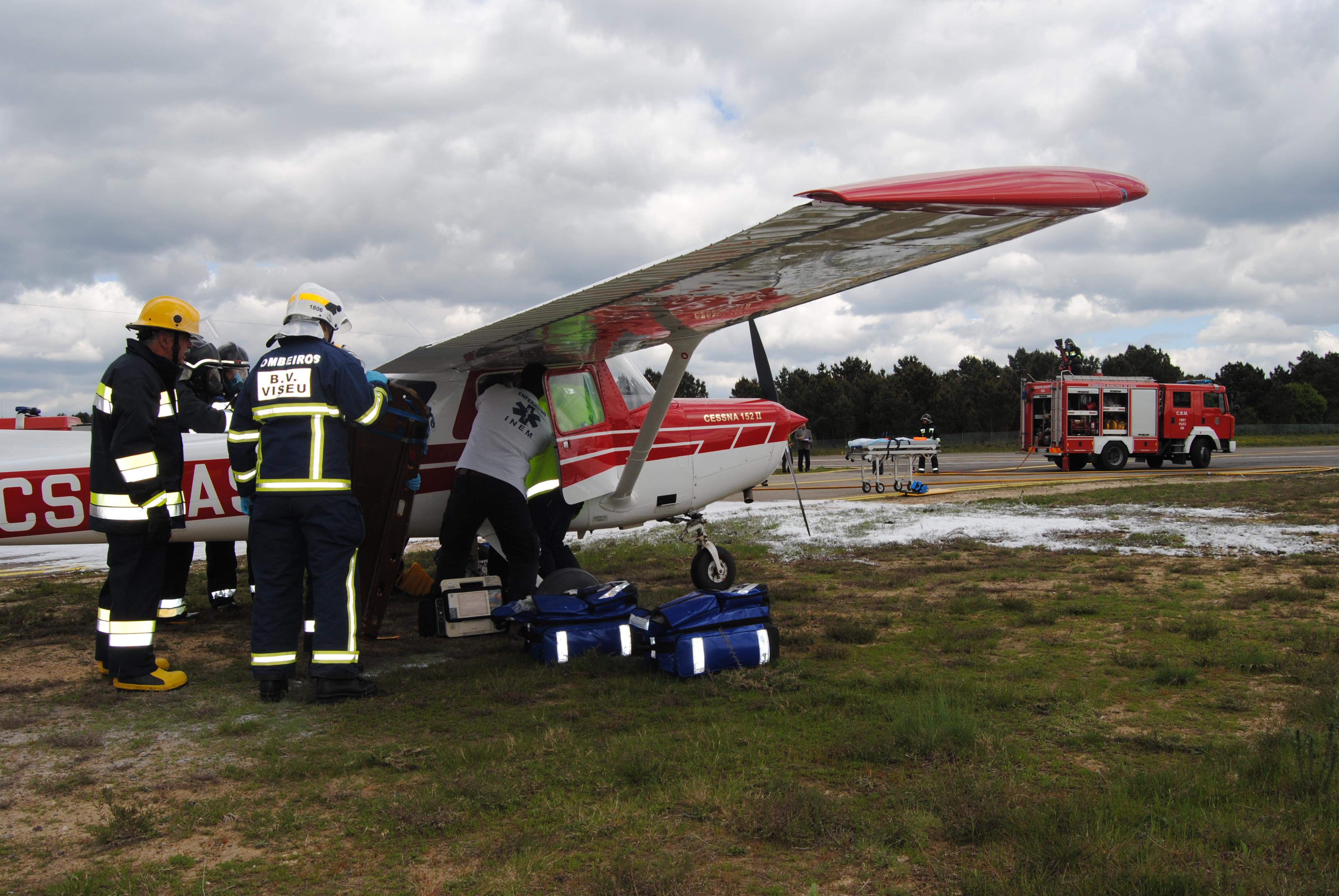 Aeroporto Viseu : Exercício simulacro no aeródromo municipal de viseu