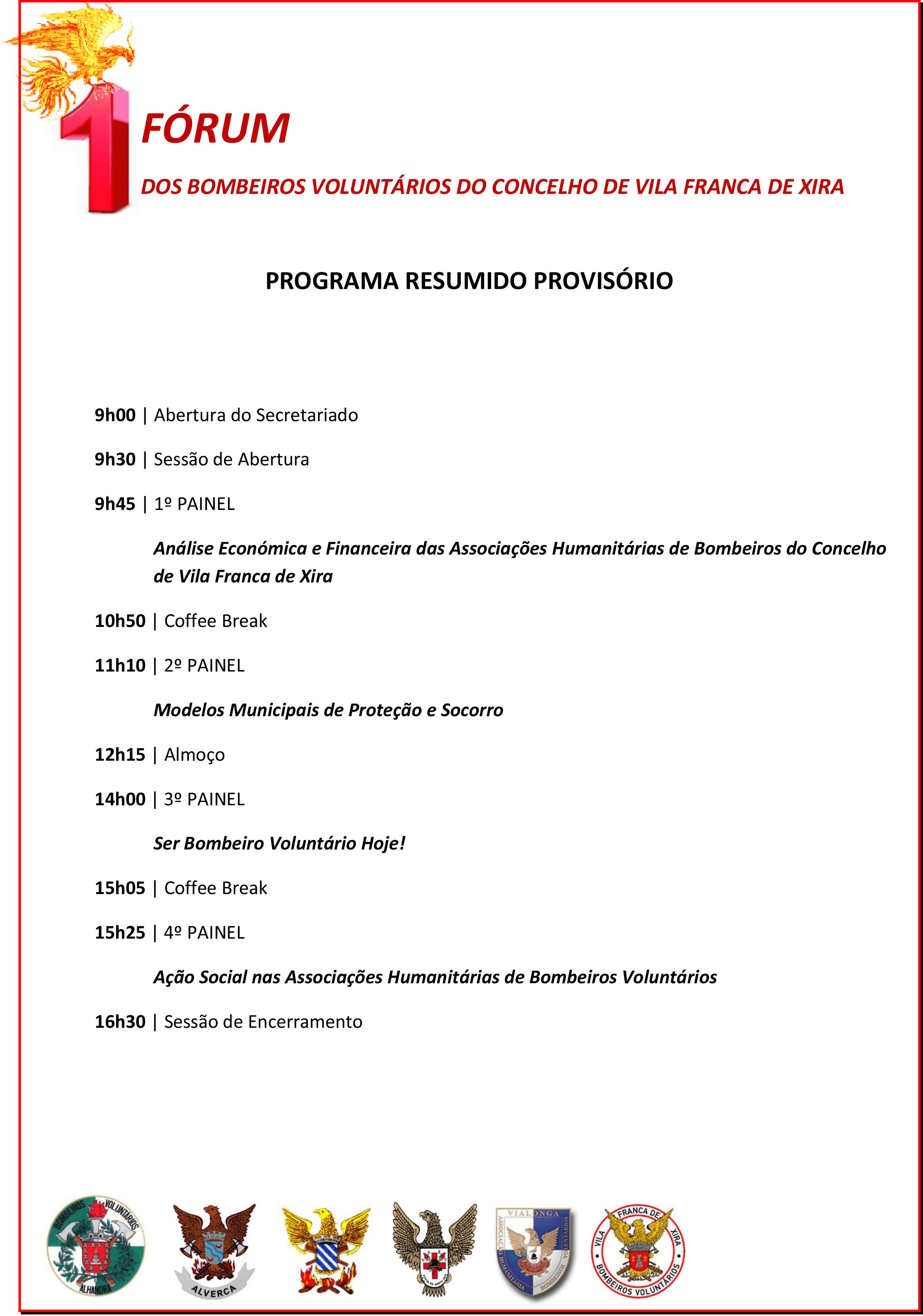 1º Fórum dos Bombeiros do Concelho de Vila Franca de Xira Programa 17 09 2016-3